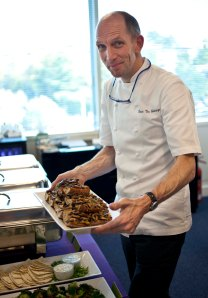 Picture of Chef Dennis Van Golberdinge with sauteed shitakes