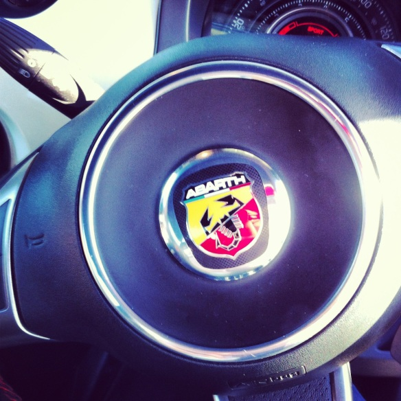 Picture of an Abarth steering wheel