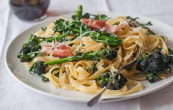 Purple Sprouting Broccoli and Speck Tagliatelle