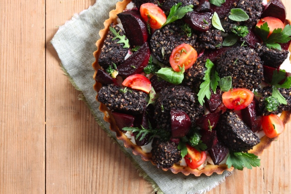Clonakilty Blackpudding, Roast Beetroot and Goats Cheese Tart