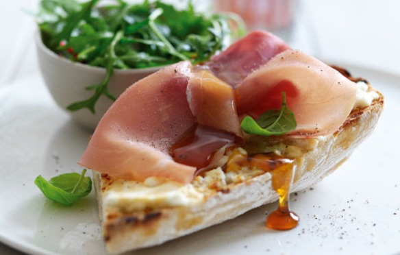 Recipe for Goat's Cheese and Honey Ciabatta with Parma Ham