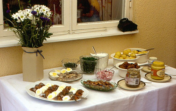 Image of a Swedish Midsummer meal