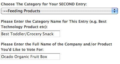 Screen shot of how to vote – category 2
