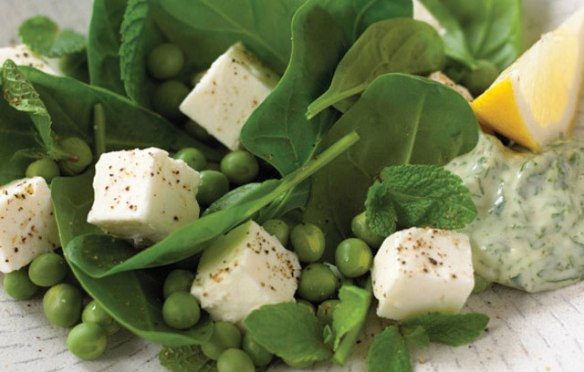 Recipe image of Feta and Pea Salad with Watercress Mayonnaise