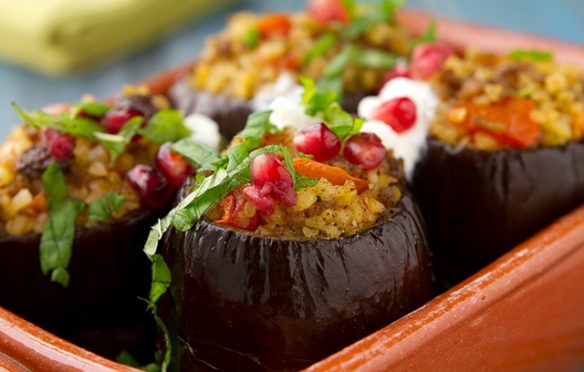 Lamb Stuffed Aubergines